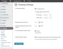 WordPress reading settings page