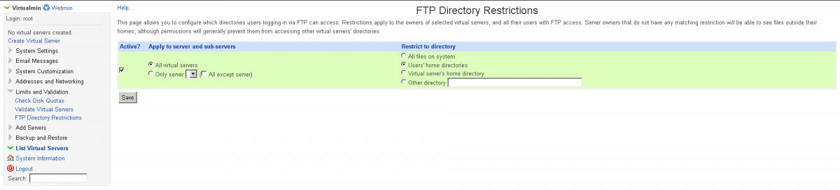Virtualmin enabling ftp users jail screenshot