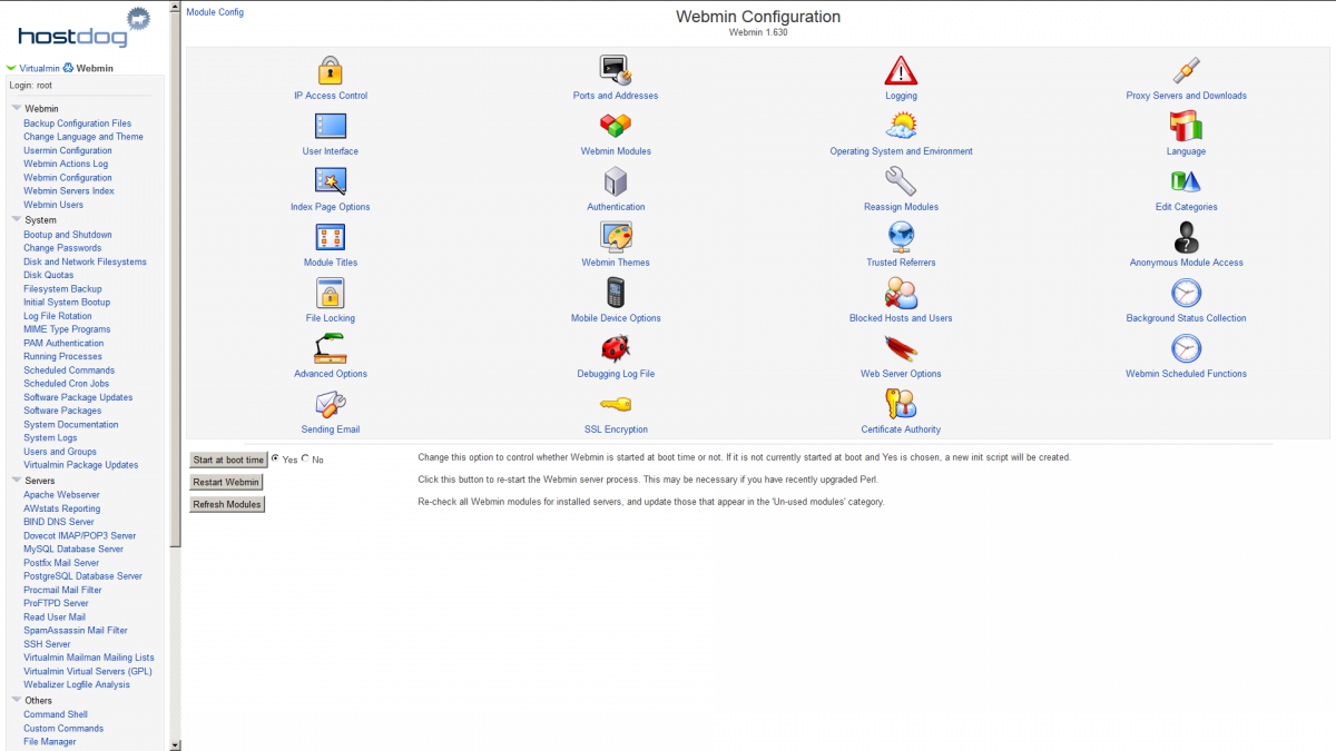 Webmin configuration screenshot