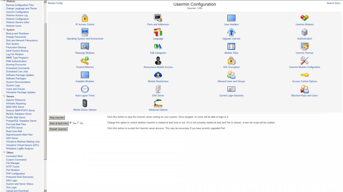 Webmin usermin configuration screenshot