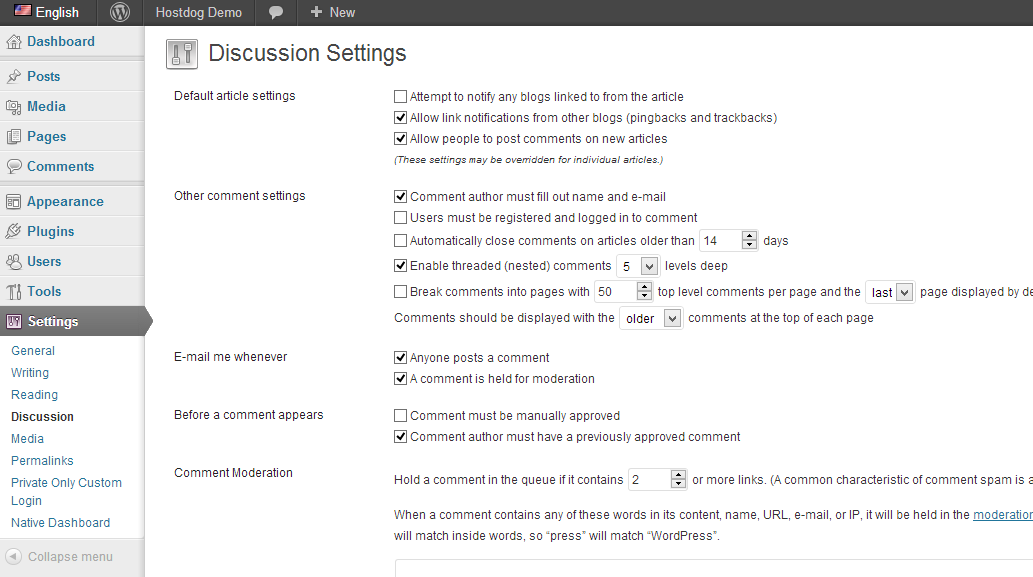 WordPress discussion comments settings page
