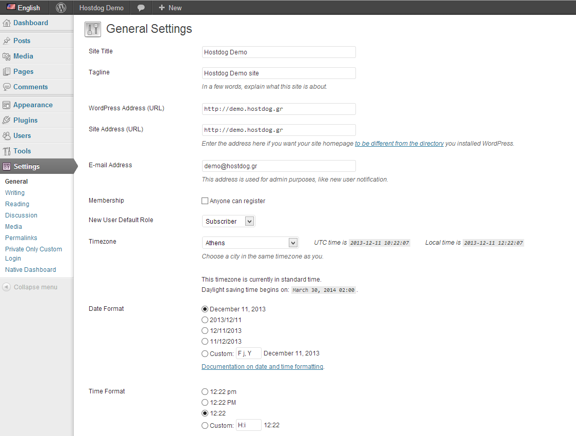WordPress general settings page