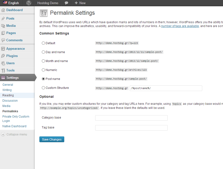 WordPress url structure permalinks settings page