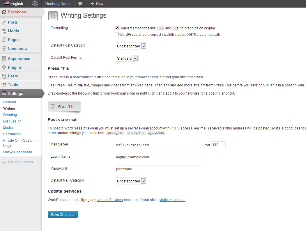 WordPress writing settings page